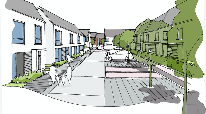 Raploch Site 8 Raploch Road 40 homes under SCAPE Residential sketches Graham Connor 05 grey panels